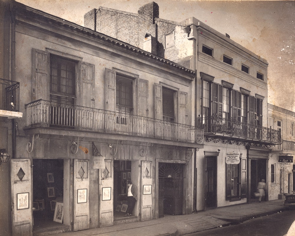 Larry Borenstein at Associated Artists Gallery circa 1960, the building which would soon become Preservation Hall (726 St. Peter Street, French Quarter of New Orleans)