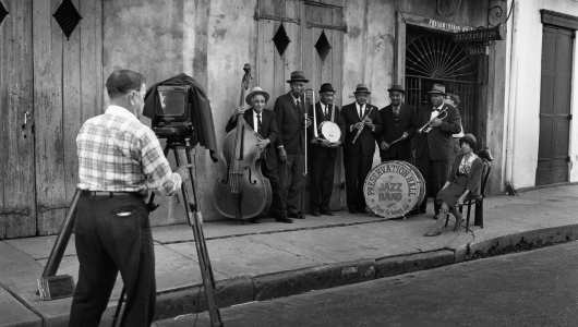 Dan Leyrer photographing Sweet Emma Barrett and Her Preservation Hall Jazz Band