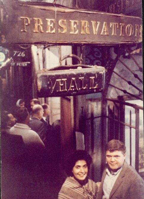 Allan and Sandra Jaffe outside Preservation Hall in New Orleans' French Quarter