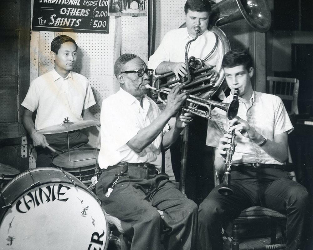 Yoichi Kimura, Punch Miller, Allan Jaffe and Tom Sancton, c. 1967. Photo by Dan Lehrer