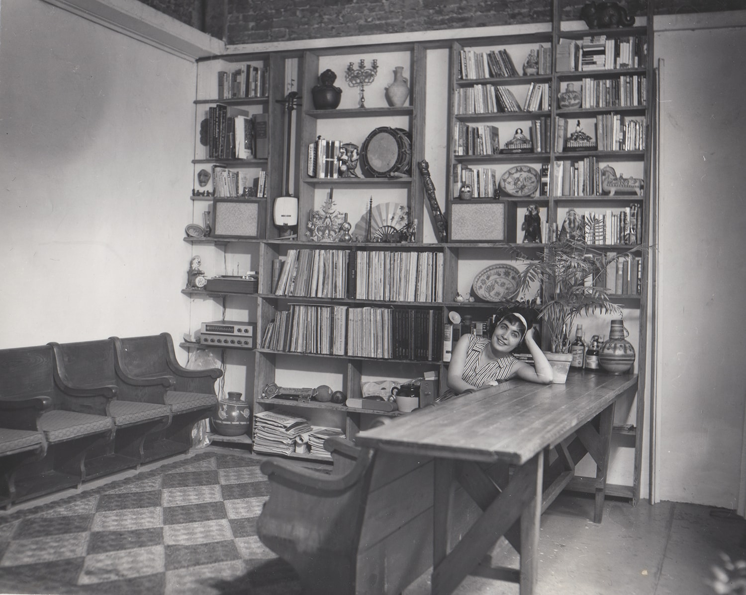 SANDRA JAFFE IN THE REAR BUILDING OF PRESERVATION HALL, EARLY 1960s